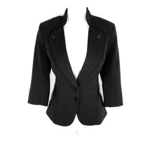 WHBM black ruffle trim fitted blazer